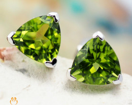 14 K White Gold Peridot Earrings 33 - D E3489 1350 W