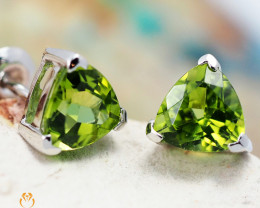 14 K White Gold Peridot Earrings 34 - D E3489 1350 W