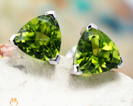 14 K White Gold Peridot Earrings 35 - D E3489 1350 W