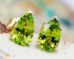 14 K Yellow Gold Peridot Earrings 36 - D E5785A 1200
