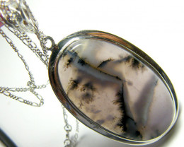 85 CTS SAGE AGATE PENDANT PICTURE STONE  SG-2023