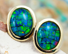 14 K Yellow Gold Mosaic Opal Earrings 45 - D E241 2100
