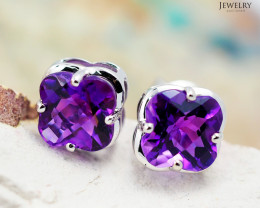 14 K White Gold Amethyst Earrings 47 - D E3991 1500