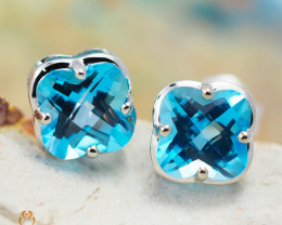 14 K White Gold Blue Topaz Earrings 48 - D E3991 1550