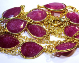 82 CTS RUBY NECKLACE FACETED 10 STONES  SG-2050