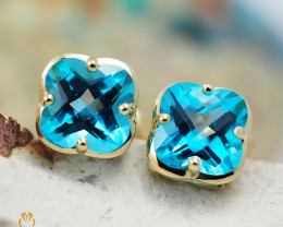 14 K Yellow Gold Blue Topaz Earrings 49 - D E3991 1550