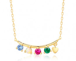 Beautiful Multi Gem Necklace - Gold Plated