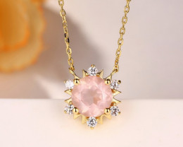 Gorgeous Rose Quartz Necklace - Gold Plated