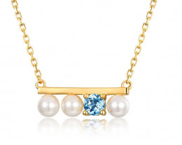 Stunning Pearl and Topaz Necklace - Gold Plated