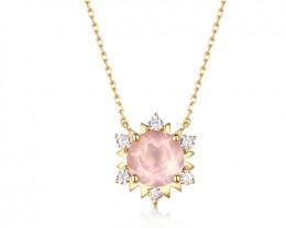 Gorgeous Rose Quartz Necklace - Gold Plated