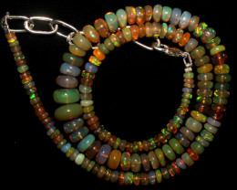 53 Crt Natural Ethiopian Welo Fire Opal Beads Necklace 1098