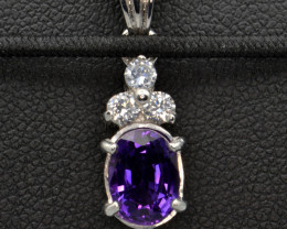 Natural Amethyst and Silver Pendant