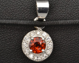 Natural Spessartite Garnet and Silver Pendant