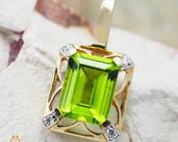 14K Yellow Gold Peridot & Diamond Pendant - 55 - D P6748 3050