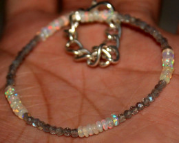 12 Crt Natural Welo Opal & Labradorite Beads Thin Bracelet 308