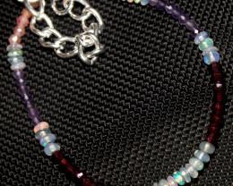 16 Crt Natural Welo Opal, Sunstone Garnet & Amethyst Beads Bracelet 324