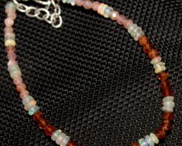 13 Crt Natural Welo Opal Garnet & Sunstone Beads Bracelet 307