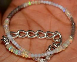 10 Crt Natural Welo Opal Moonstone & Labradorite Beads Bracelet 286