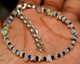 13 Crt Natural Ethiopian Welo Fire Uncut Opal & Lapis Lazuli Bracelet