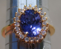 Tanzanite 3.61ct Diamonds 22K Solid Yellow Gold Ring,Certified,Appraised,RS