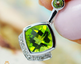 14K White Gold Peridot & Diamond Pendant - 61 - D P10210 3400