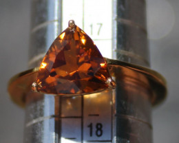 Orange Tourmaline 2.75ct,Solid 18K Yellow Gold Ring,Rare,Certified and Appr