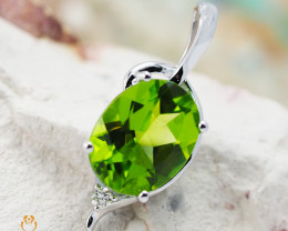 14K White Gold Peridot & Diamond Pendant - 66 - D P11186 2250