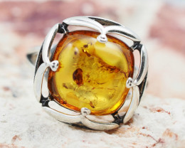 Baltic Amber Sale,Silver Ring  , direct from Poland  AM 886