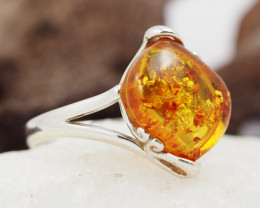 Baltic Amber Sale,Silver Ring  , direct from Poland  AM 887