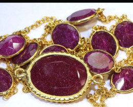 91.5 CTS RUBY NECKLACE 11 STONES  SG-2074