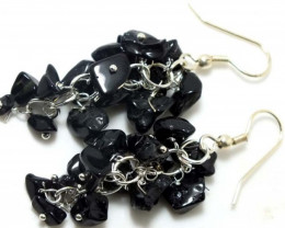 45 CTS BLACK TOURMALINE EARRINGS GRAPE DESIGN SG-2053