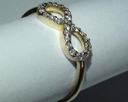 Modern 14 k Solid Yellow Gold Infinity Diamond Ring