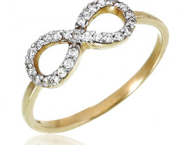 Modern 14 k Solid Yellow Gold Infinity Genuine Diamond Ring