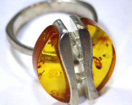 32.60 CTS AMBER RING-SIZE -8 SILVER  SG-2093