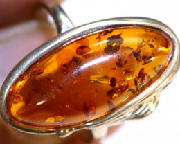19.14 CTS AMBER RING-SIZE -7 SILVER  SG-2095