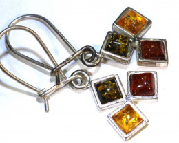 12.12 CTS AMBER SILVER EARRING TRI COLOUR  SG-2099