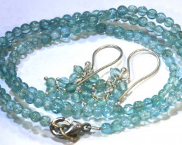 44 CTS AQUAMARINE NECKLACE AND EARRING SET  SG-2213