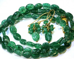 65.5 CTS JADE DRILLED BEAD NECKLACE EARRING SET SG-2215