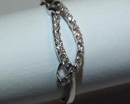 Modern 14 k Solid White Gold Diamond Ring