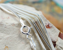 20 Inch, 50 cm 1.3 x 1.2 mm Long  Snake  Silver chain . AM 924