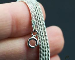 20 Inch, 50 cm 1.3 x 1.2 mm Long  Snake  Silver chain . AM 925