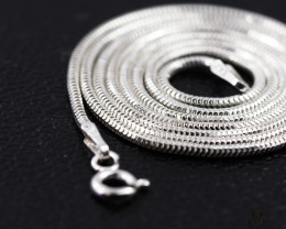 20 Inch, 50 cm 1.3 x 1.2 mm Long  Snake  Silver chain . AM 927