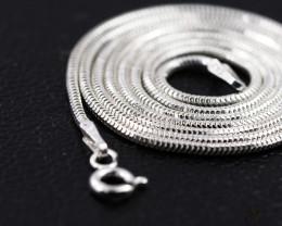 20 Inch, 50 cm 1.3 x 1.2 mm Long  Snake  Silver chain . AM 929