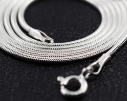 18 Inch, 45 cm 1.0 x 1.1 mm Long  Snake  Silver chain . AM 932
