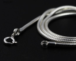 20 Inch, 50 cm 2.3 x 2.3  mm Long  Snake  Silver chain . AM 938