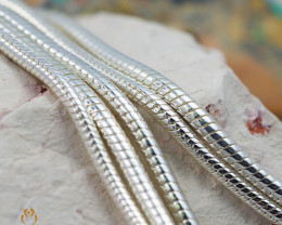 20 Inch, 50 cm 2.3 x 2.3  mm Long  Snake  Silver chain . AM 939