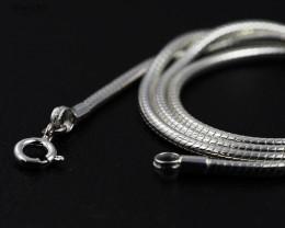 20 Inch, 50 cm 2.3 x 2.3  mm Long  Snake  Silver chain . AM 940