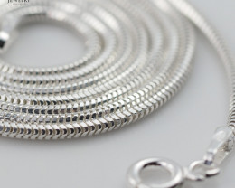 18 Inch, 45 cm 1.1 x 1.0  mm Long  Snake  Silver chain . AM 944