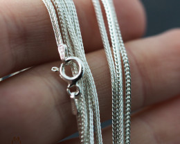 16Inch, 40 cm 1.0 x 1.0  mm Long  Snake  Silver chain . AM 955