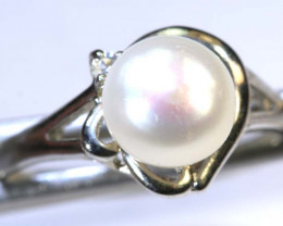 13.85 CTS PEARL RING /SILVER  SIZE 10 SG-2222